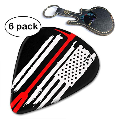 American Flag Thin Red Line Firefighter Halligan Axe Fire Guitar Picks 6-Pack.46mm