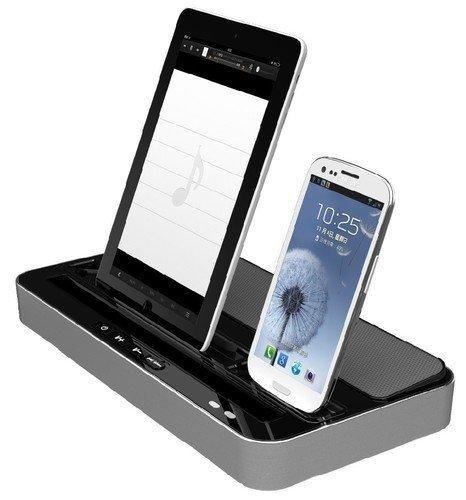 CKING STATION Ladegerät, Lautsprecher & Ständer mit Dual Charger Adapter passend für iPad 2 3 4 mini und iPhone 4G 4S 5 silber ()