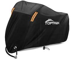 Toptrek Motorbike Cover 210T Oxford Fabric Motorcycle Cover Waterproof Outdoor Storage Moped Cover Black Anti Dust Rain UV In