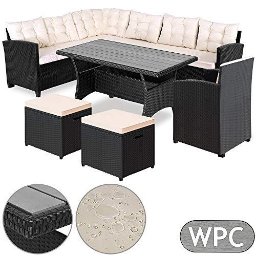 Deuba Poly Rattan Sitzgruppe Ecklounge I 7cm dicken Auflagen I WPC Tischplatte Gartenstuhl Hocker Sitzgarnitur Eckbank
