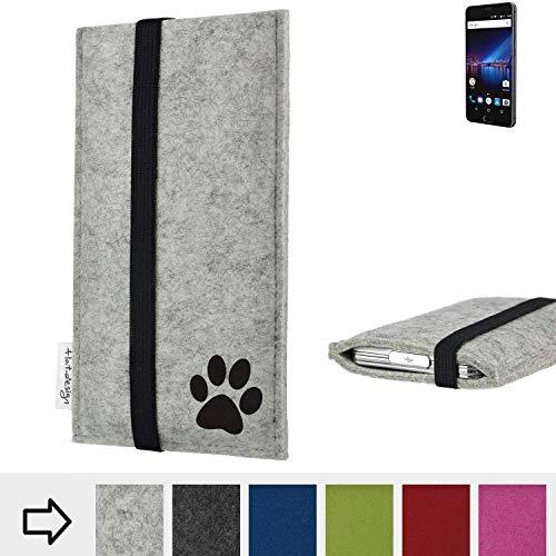 flat.design Handy Hülle Coimbra für Phicomm Passion 4 individualsierbare Handytasche Filz Tasche fair Hund Pfote tatze