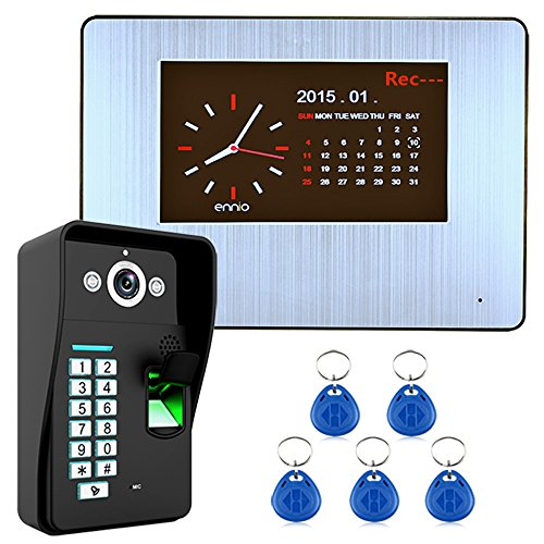 "YA 7""LCD-Aufnahme HD 1000TVL DVR Fingerabdruckerkennung Video-Türsprechanlage Intercom System Kit 51-80 Meter"