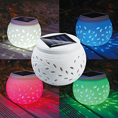 GEZICHTA Solar Powered Ceramic LED Light Portable Colorful Hollowed Decorative Garden Light Night Light For Patio Yard Party Table Ground