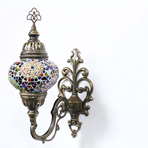 Turkish Mosaic Sconce Wall Lamp, Stunning Moroccan Style Handmade with large size (14cm) Glass Globe by TK Bazaar (Tile, AP2000)