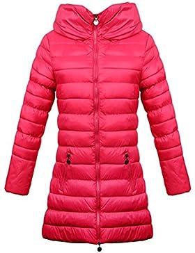 Invierno abajo de algodón acolchado mujer y niña con capucha larga abrigo chaqueta y abrigo cálido