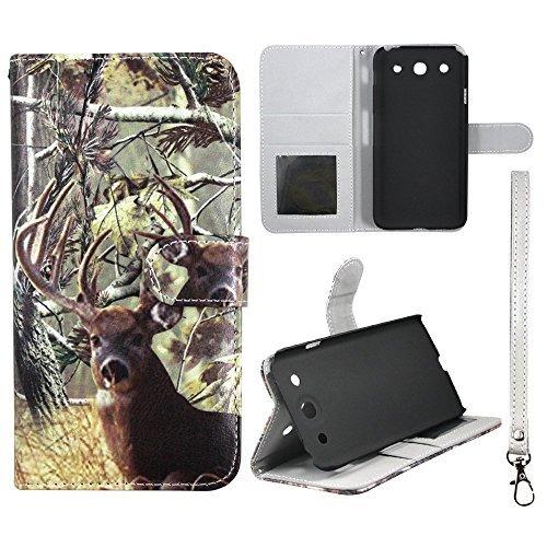 Weiß Schwanz Deer Camo Kiefer Camo Flip Wallet Kreditkarte Halter LG Optimus G Pro E980PU (Poly) Synthetisches Leder Tasche mit ID Slot Schutzhülle Hard Case Sony Fällen Gummierte Touch Displayschutzfolie Blenden