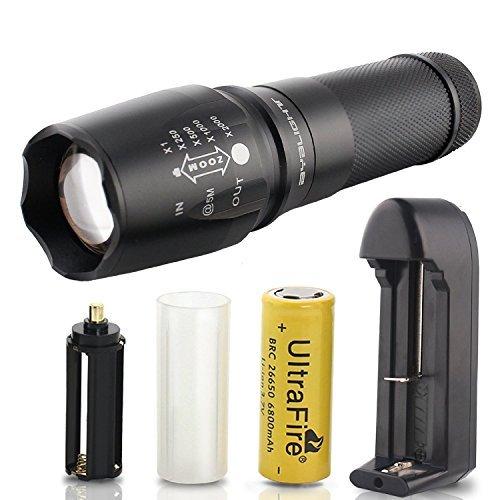 2000Lumen Taschenlampe Einstellbarer Fokus Zoom CREE XML T6LED Taschenlampe, ipx-6wasserabweisend Camping Taschenlampe Flash Licht, Handheld Taschenlampe für Outdoor Sports, Powered by 1Stück 18650, 126650oder 3AAA Batterie (nicht enthalten) -