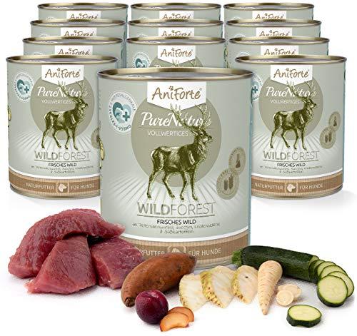 12 X 12 Natürliche (AniForte Natürliches Nassfutter für Hunde - WildForest Frisches Wild, Wildfleisch Futter hoher Fleisch-Anteil, Hundefutter für alle Hunderassen, getreidefrei, Ohne künstliche Zusätze - 12 x 800g)