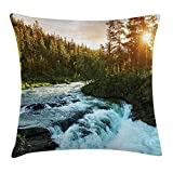 European Throw Pillow Cushion Cover, River in Norway Sunrise Sunbeams Through Pine Trees Springtime Scenic, Decorative Square Accent Pillow Case,Baby Blue Apple Green Size:16X16 Inches/40X40cm