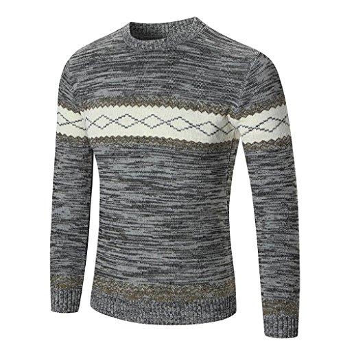 Amlaiworld Uomo autunno inverno maglione pullover Slim maglieria camicetta Grigio