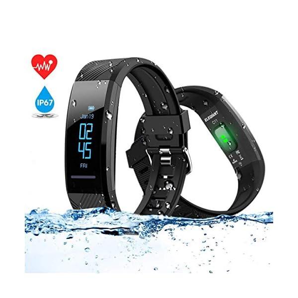 ELEGIANT Pulsera de Actividad Inteligente Reloj Deportivo IP67 para Hombre Mujer con GPS Monitor de Sueño Podómetro… 2