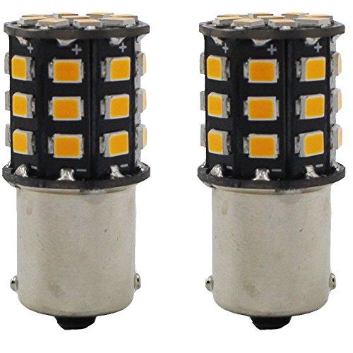 2-Pack 1056 BAU15S 7507 12496 Ampoules DEL Non-Polarité Jaune-Clair Ultra Brillantes 10-30V-DC, 2835 33 SMD avec Remplacement pour Les Clignotants