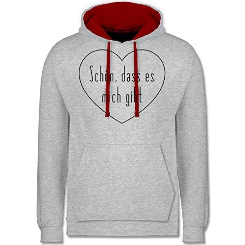 Statement Shirts - Schön, dass es mich gibt - Kontrast Hoodie Grau Meliert/Rot