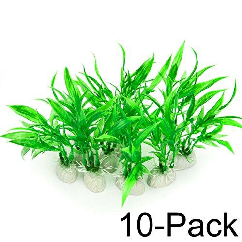 Comsun 10 Stück Wasserpflanzen künstliche Aquarienpflanzen, Aquarium Dekorationen Home Dekor Kunststoff Grün (Grün Aquarium Dekoration)