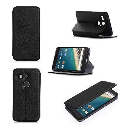 Etui luxe LG Google Nexus 5X 2015 Ultra Slim noir Cuir Style avec stand - Housse coque de protection LG Google Nexus 5X - Prix découverte accessoires pochette XEPTIO : Exceptional case ! Nouvelle Version