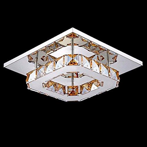 Modern Crystal LED Semi Flush Mount Ceiling Fixture Home Lamp Stainless Steel 20*20*8CM,Golden Teak -