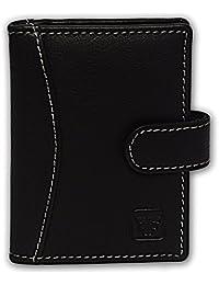 Fashion Freak Leather Credit Card Holder Wallet (BLW0010) (White Thread)