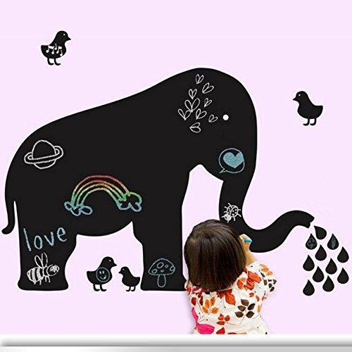Preisvergleich Produktbild Schreibtafel mit Elefant- und Kükenmotiv zum Malen an der Wand, mit Klebepads zur Wandbefestigung, Schwarz, Material PVC-Kunststoff, Dekoration für Wohnzimmer, Schlafzimmer, Küche, Kinderzimmer, Spielzimmer