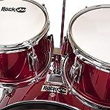 RockJam Complete 5-Piece Junior Drum Set with Cymbals, Drumsticks, Adjustable Throne and Accessories - Red