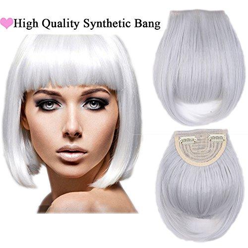 Extension frangia capelli bangs hair clip one piece frangetta corta frontale capelli lisci 30g grigio argento