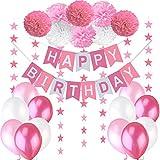 Decoraciones Cumpleaños Nina - 1 Bandera Banderines Feliz Cumpleaños ' Happy Birthday' + 8 Pompon Bola de Flor + 2 Guirnaldas con Estrellas de 3 Metros + 12 Globos Rosa Fucsia Blanco