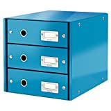 Leitz A4 Click & Store 3 Çekmeceli Evrak Rafı, Mavi, 60480036