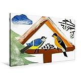 Premium Textil-Leinwand 90 cm x 60 cm quer, Vogelhäuschen mit Kohlmeise und Gimpel. Gebastelt aus Papier. | Wandbild, Bild auf Keilrahmen, Fertigbild (Gimpel) sitzen und fressen. (CALVENDO Kunst)
