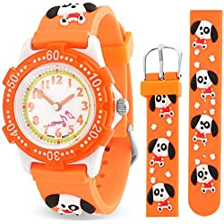 Bling Jewelry Orange Puppy Paw prints Animal Childrens Watch Stainless Steel Back