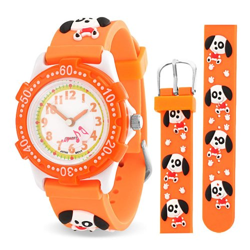 Bling Jewelry cucciolo arancione Paw stampe per bambini animali guarda il retro in acciaio inossidabile