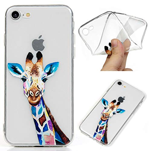 ZSTVIVA iPhone 8 Hülle, iPhone 7 Hülle, Painted Clear Series Cover Full Body Protective Soft Flexible TPU Case iPhone 8 / iPhone 7, Colored Giraffe