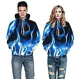 GSYDWY Herbst und Winter Hoodie Starry Blue Flame 3D Pullover Druck Ärmel große Größe mit Kapuze Pullover