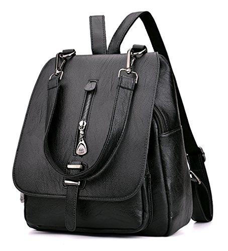 Himaleyaz Mädchen Rucksack Handtasche mit abnehmbaren Schultergurt Lady Schultertasche Rucksack Bequeme PU Leder rot Schwarz
