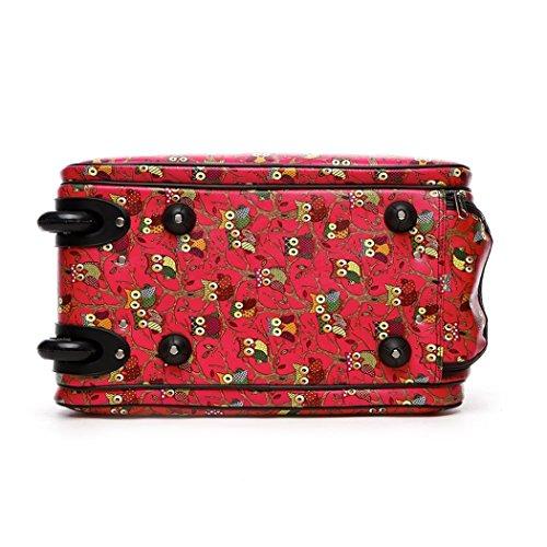LeahWard® Frauen Girl's Holdall Faux Leder Gepäck Tasche Hand Gepäck Reise Koffer Urlaub Damen Taschen CW02 (L Grau Vogel und Schmetterling Blume) L Fuchsie Eule