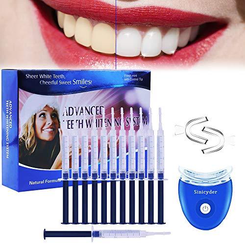 Teeth Whitening Kit,Sinicyder Wiederverwendbares Zahnbleaching Kit entfernt Ablagerungen und Verfärbungen für weiße Zähne,10x Teeth Whitening 2x Dental Trays Gel Kit & Laserlicht -