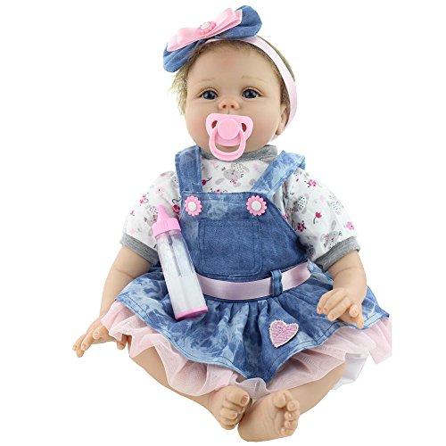 Yesteria Réaliste Reborn Baby Doll Fille Silicone Denim Tutu Robe...