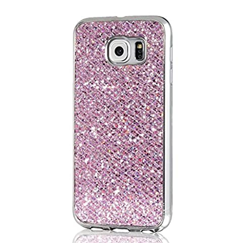 Samsung Galaxy S6 Edge MUTOUREN TPU Silicone Case Cover bling glitering bumper shell anti-scratch shock-resistant bling bling sparking soft slim silicone cover protective case ultra thin-pink