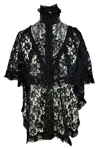 DangerousFX Burleska Black Lace Gothic Victorian High Neck Vampire Fishtail Cape Cloak Wrap