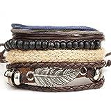LCLrute Mode Geflochtene Perlen Wachs Seil Armband Neue Männer geflochtene Leder Edelstahl Manschette Armreif Armband Armband Mode (Braun)
