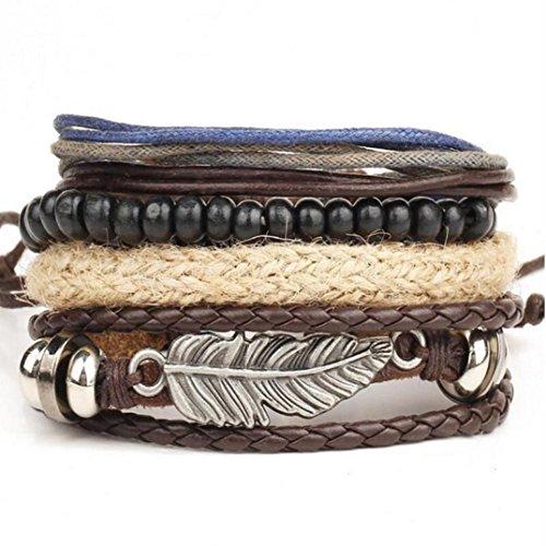 LCLrute Mode Geflochtene Perlen Wachs Seil Armband Neue Männer geflochtene Leder Edelstahl Manschette Armreif Armband Armband Mode (Braun) (Mode Manschette Stil,)