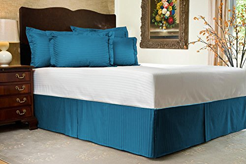 Comfort Beddings 800TC 3PC giroletto UK Super King Size 100% Cotone Egiziano a Righe, 100% Cotone/Cotone/Cotone Egiziano, Turquoise Blue, Matrimoniale UK Super King