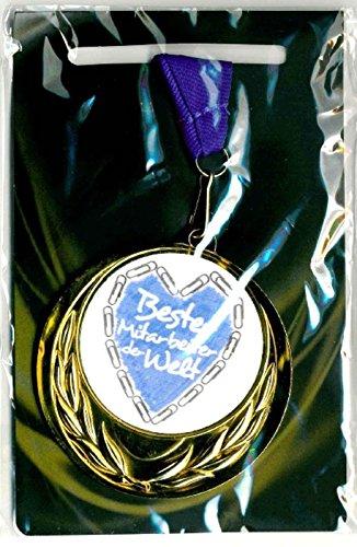 m-shop Edle Medaille/Auszeichnung mit Farbigem Schild Bester Mitarbeiter der Welt und Umhängeband