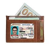 Portefeuille en Cuir Hommes Porte Porte Carte de Crédit Femmes Porte Monnaie Homme Poche Avant RFID Petit Slim Wallet Femme (Brun)