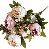 itemer 1ramo 6cabezas flores artificiales, Artificial peonía flores de seda hoja de estilo europeo para ramo de novia boda fiesta sala de estar DIY decoración de jardín, rosa claro