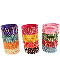 Fashioable & Glossy Multicolor Silk Thread Glass Bangle Set For Women & Girls On Wedding & Festive Occasions