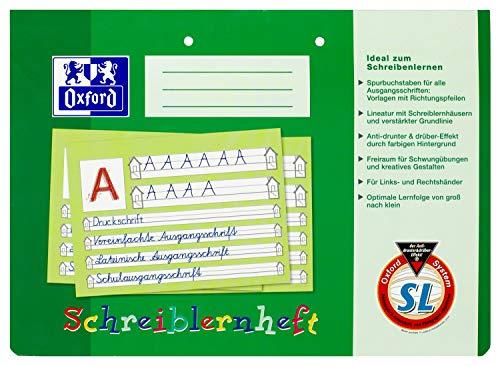 OXFORD 100050089 Schreiblernheft Schule 10er Pack A4 quer 16 Blatt Lineatur SL (1. Klasse) gelocht - Schreiben lernen in der Grundschule und Förderschule Erste Oxford