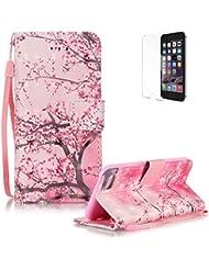 iPod touch 5/6/iphone se/5S/6S/7S/6S Plus/S4/S5/S6/S6Edge/S7/S7Edge/G530/G360/Huawei P9Lite Strap Lanyard Cartera, Wallet Flip Carcasa Accesorio Funda PielCarcasa con función atril, funyye Mode Luxus 3d especiales eficiencia [Multicolor] funda PU piel Funda teléfono móvil Folding cuero PU magnético Flip Cover Funda Con Tarjeta Ranura Cartera Carcasa Trasera Ranura de tarjeta libre de silicona Resistente a arañazos + 1x Protector de pantalla, color Rosa Blume, tamaño iPhone 7 4.7