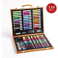 Juego De Arte, 150 Piezas De Embalaje Madera Profesional Niños Color Lápiz Dibujo Artista Kit