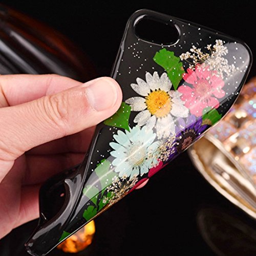 Pour iPhone 6 / 6s, Epoxy Dripping Pressed Real Dried Flower Soft TPU Housse de protection arrière JING ( SKU : Ip6g2295g ) Ip6g2295l