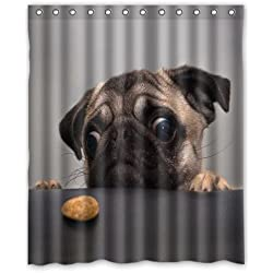 Pug Dog Custom Fashion Shower Curtain 60-Inch by 72-Inch