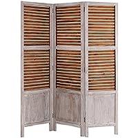 Mlance-Biombo de madera, 3 puertas persiana cuero natural y Vical Home, color blanco